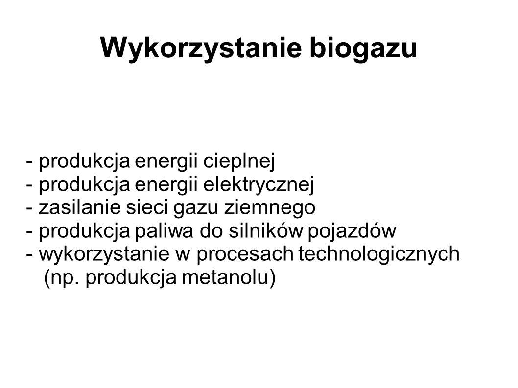 Wykorzystanie biogazu - produkcja energii cieplnej - produkcja energii elektrycznej - zasilanie sieci gazu ziemnego - produkcja paliwa do silników pojazdów - wykorzystanie w procesach technologicznych (np.