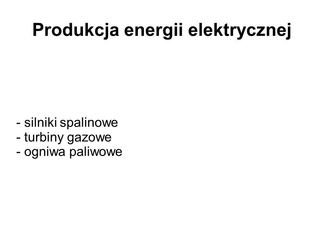 Produkcja energii elektrycznej - silniki spalinowe - turbiny gazowe - ogniwa paliwowe
