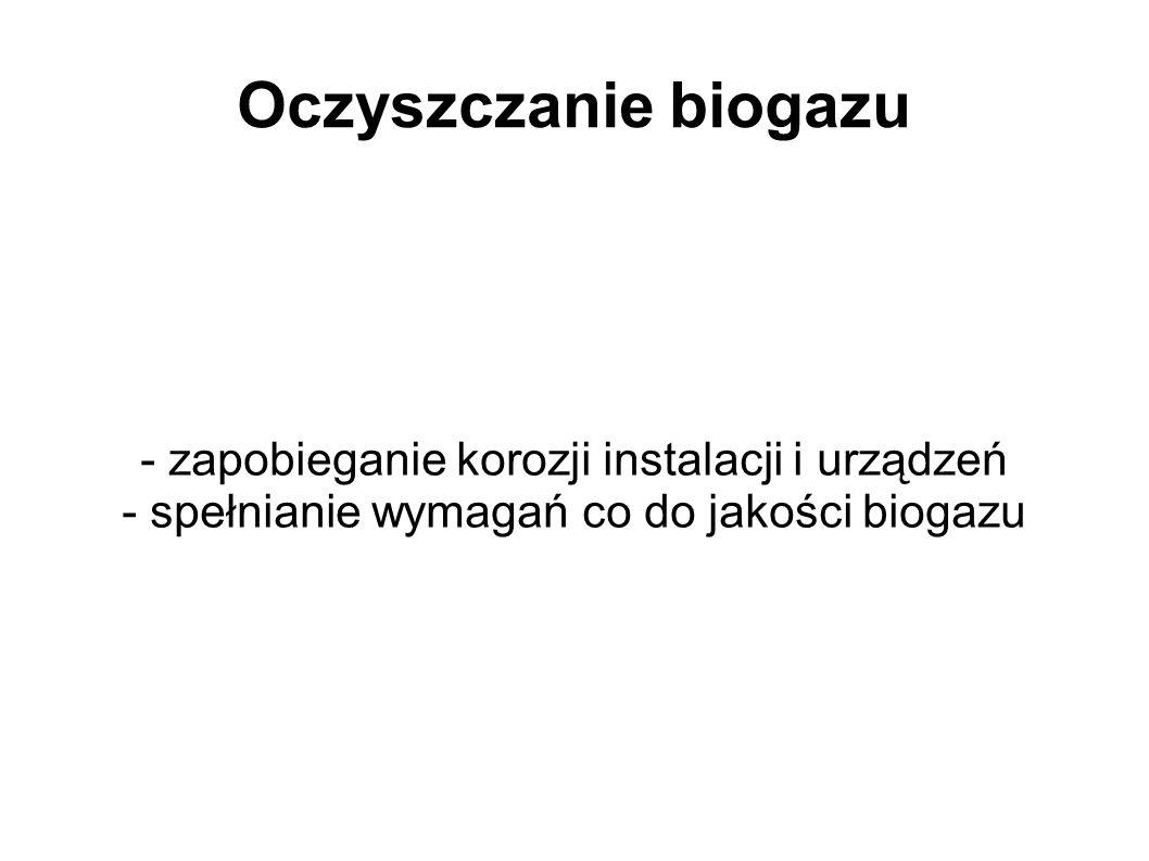 Oczyszczanie biogazu - zapobieganie korozji instalacji i urządzeń - spełnianie wymagań co do jakości biogazu