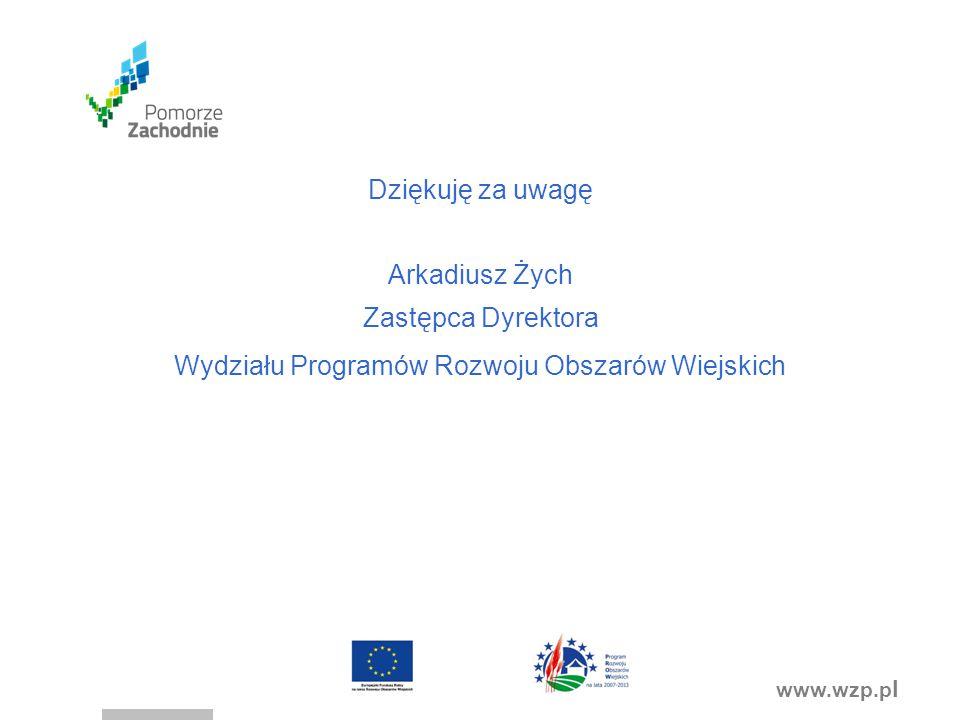 www.wzp.p l Dziękuję za uwagę Arkadiusz Żych Zastępca Dyrektora Wydziału Programów Rozwoju Obszarów Wiejskich