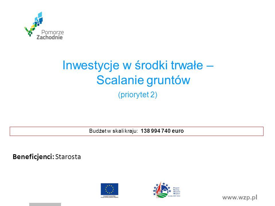 www.wzp.p l Inwestycje w środki trwałe – Scalanie gruntów (priorytet 2) Budżet w skali kraju: 138 994 740 euro Beneficjenci: Starosta