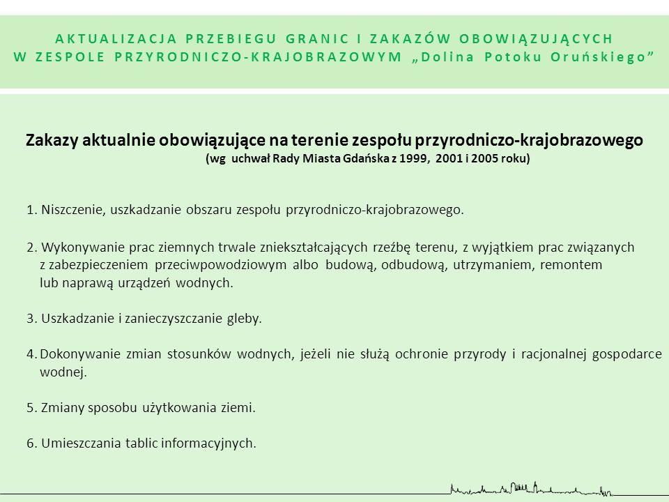 Zakazy aktualnie obowiązujące na terenie zespołu przyrodniczo-krajobrazowego (wg uchwał Rady Miasta Gdańska z 1999, 2001 i 2005 roku) 1. Niszczenie, u