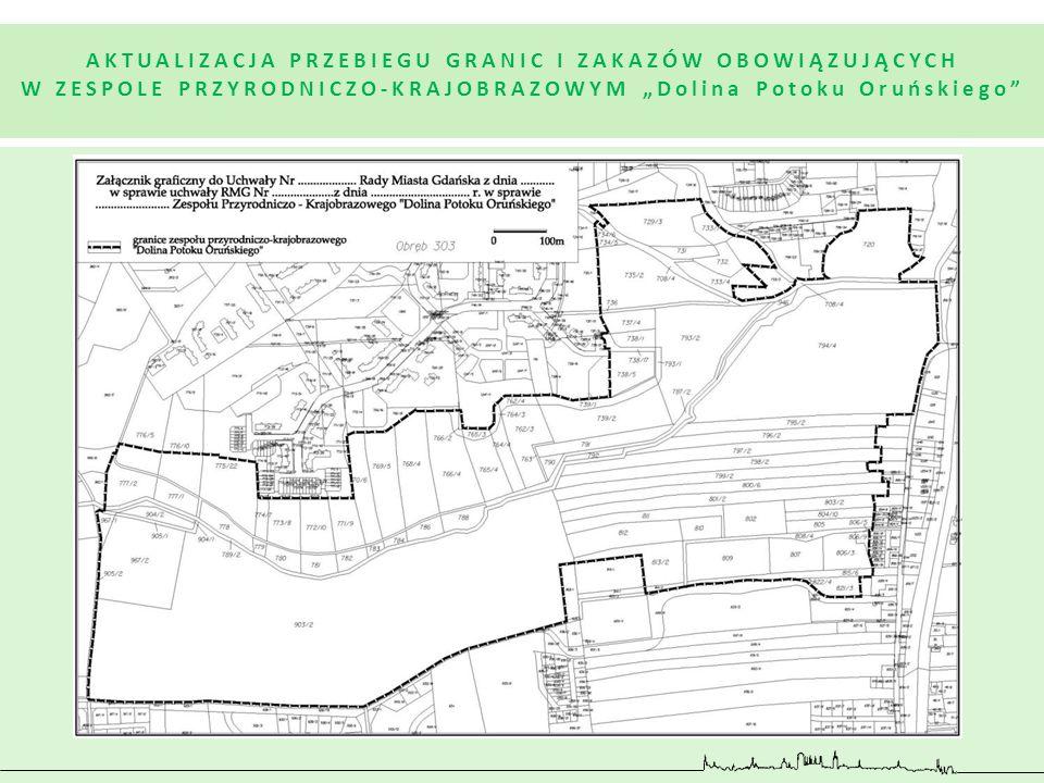 """mapa AKTUALIZACJA PRZEBIEGU GRANIC I ZAKAZÓW OBOWIĄZUJĄCYCH W ZESPOLE PRZYRODNICZO-KRAJOBRAZOWYM """"Dolina Potoku Oruńskiego"""""""