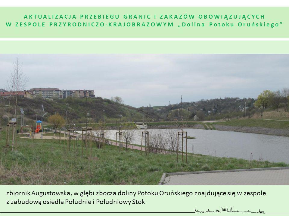 """AKTUALIZACJA PRZEBIEGU GRANIC I ZAKAZÓW OBOWIĄZUJĄCYCH W ZESPOLE PRZYRODNICZO-KRAJOBRAZOWYM """"Dolina Potoku Oruńskiego"""" zbiornik Augustowska, w głębi z"""