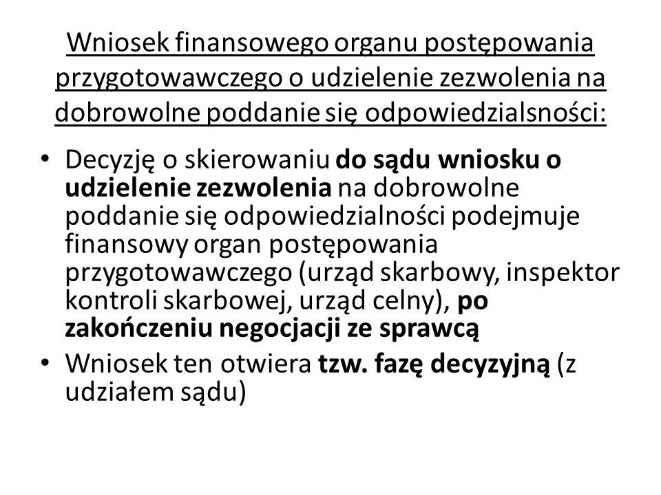 Wniosek finansowego organu postępowania przygotowawczego o udzielenie zezwolenia na dobrowolne poddanie się odpowiedzialsności: Decyzję o skierowaniu