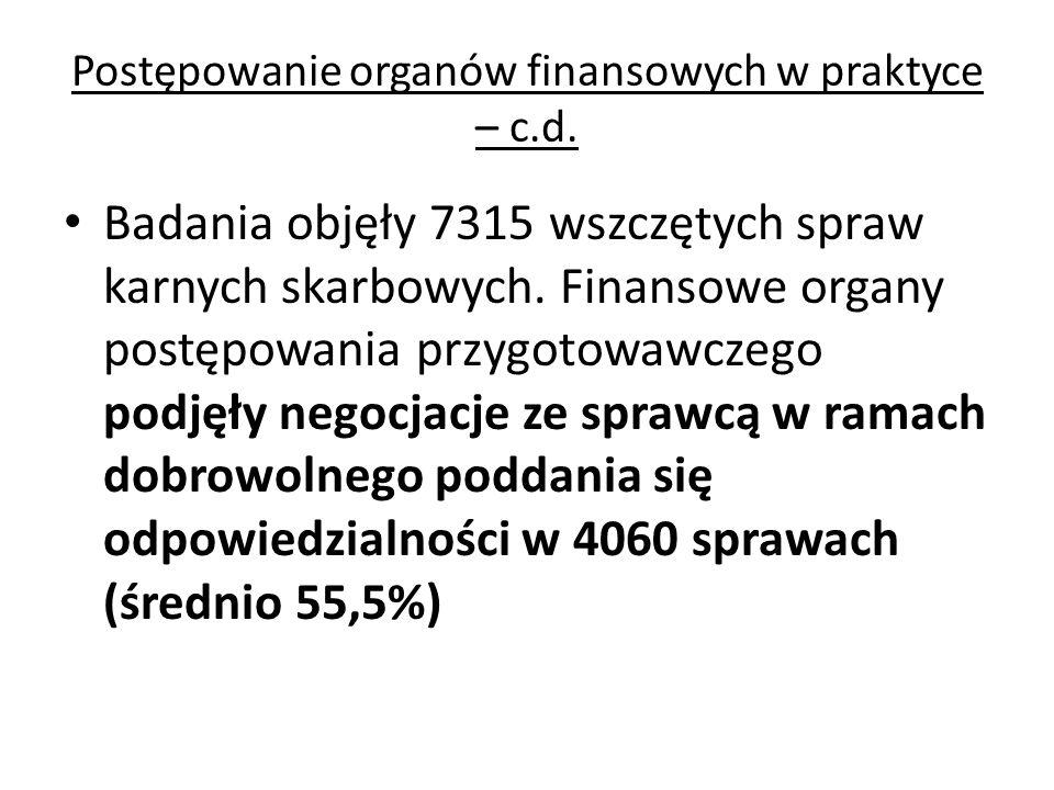Postępowanie organów finansowych w praktyce – c.d. Badania objęły 7315 wszczętych spraw karnych skarbowych. Finansowe organy postępowania przygotowawc