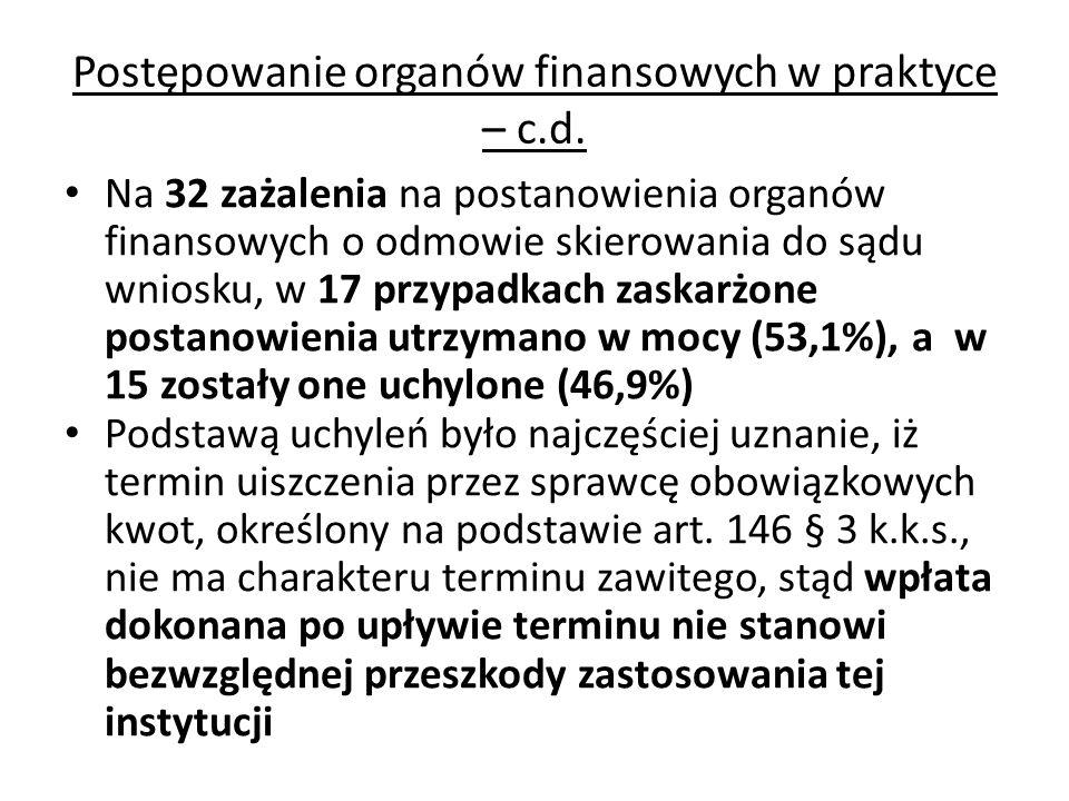 Postępowanie organów finansowych w praktyce – c.d. Na 32 zażalenia na postanowienia organów finansowych o odmowie skierowania do sądu wniosku, w 17 pr