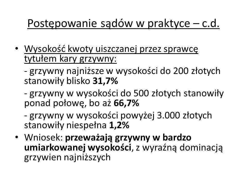 Postępowanie sądów w praktyce – c.d. Wysokość kwoty uiszczanej przez sprawcę tytułem kary grzywny: - grzywny najniższe w wysokości do 200 złotych stan