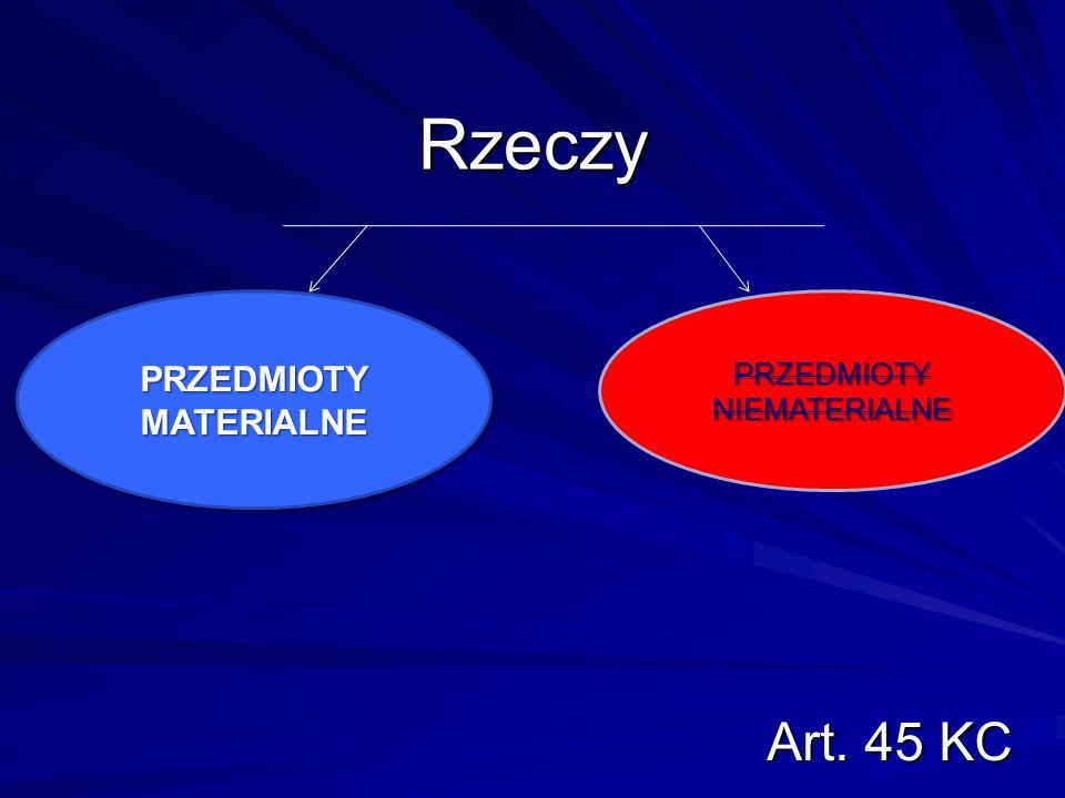 Rzeczy Art. 45 KC PRZEDMIOTY NIEMATERIALNE PRZEDMIOTY MATERIALNE