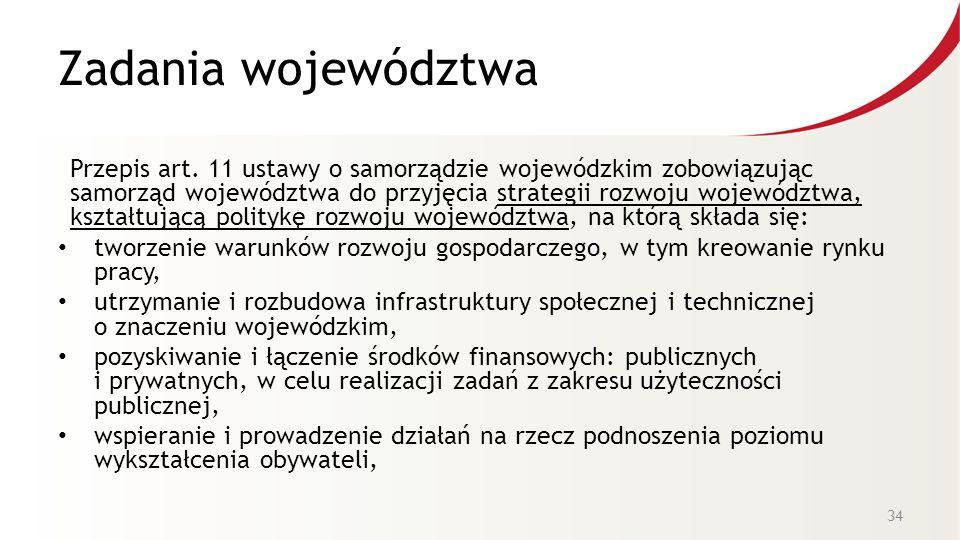 Zadania województwa Przepis art. 11 ustawy o samorządzie wojewódzkim zobowiązując samorząd województwa do przyjęcia strategii rozwoju województwa, ksz