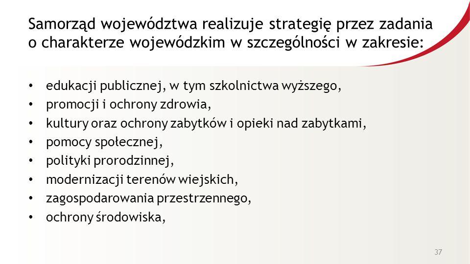 Samorząd województwa realizuje strategię przez zadania o charakterze wojewódzkim w szczególności w zakresie: edukacji publicznej, w tym szkolnictwa wy