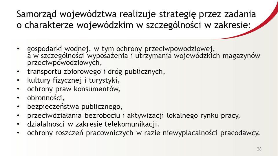 Samorząd województwa realizuje strategię przez zadania o charakterze wojewódzkim w szczególności w zakresie: gospodarki wodnej, w tym ochrony przeciwp