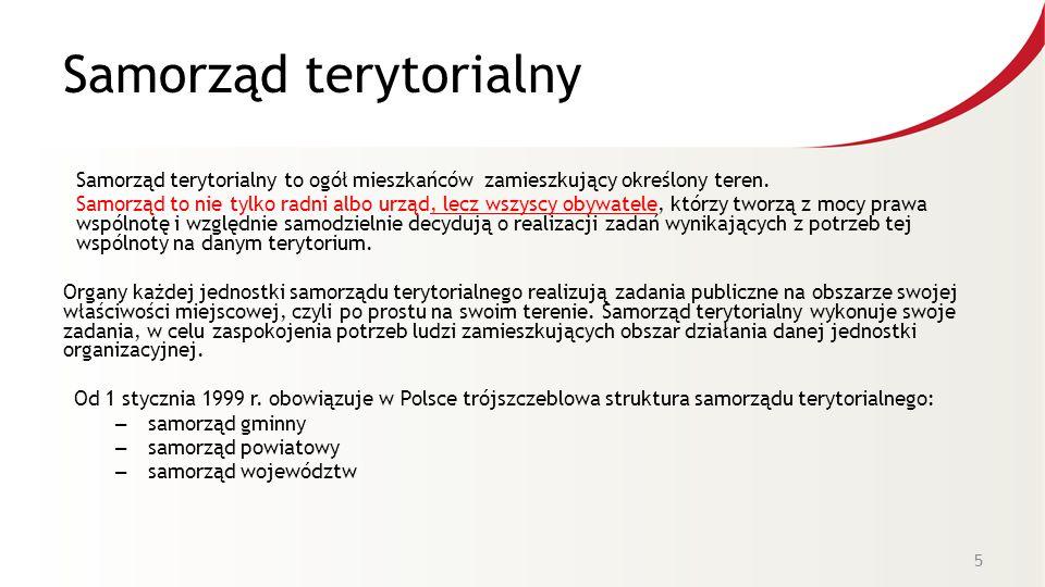 Samorząd terytorialny Samorząd terytorialny to ogół mieszkańców zamieszkujący określony teren. Samorząd to nie tylko radni albo urząd, lecz wszyscy ob