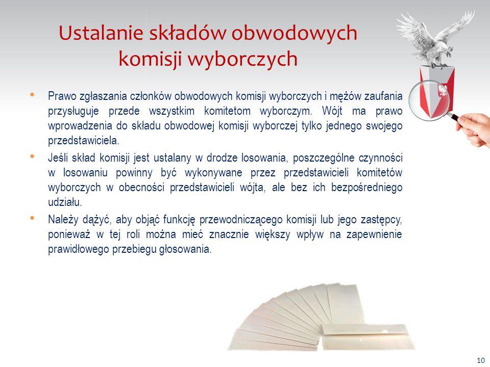 Ustalanie składów obwodowych komisji wyborczych Zaufany, lojalny wobec władzy skład komisji wyborczej obsadzony przez tzw.