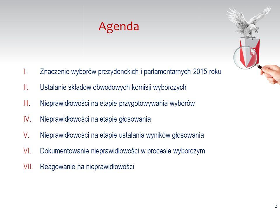 Agenda I.Znaczenie wyborów prezydenckich i parlamentarnych 2015 roku II.Ustalanie składów obwodowych komisji wyborczych III.Nieprawidłowości na etapie przygotowywania wyborów IV.Nieprawidłowości na etapie głosowania V.Nieprawidłowości na etapie ustalania wyników głosowania VI.Dokumentowanie nieprawidłowości w procesie wyborczym VII.Reagowanie na nieprawidłowości 2