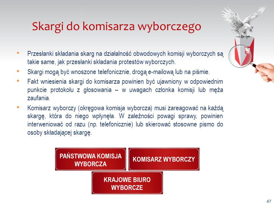 Reagowanie na nieprawidłowości W sytuacjach naruszeń procedury wyborczej, w pierwszej kolejności należy zwracać się z prośbą o reakcję do przewodniczącego komisji wyborczej lub jego zastępcy.