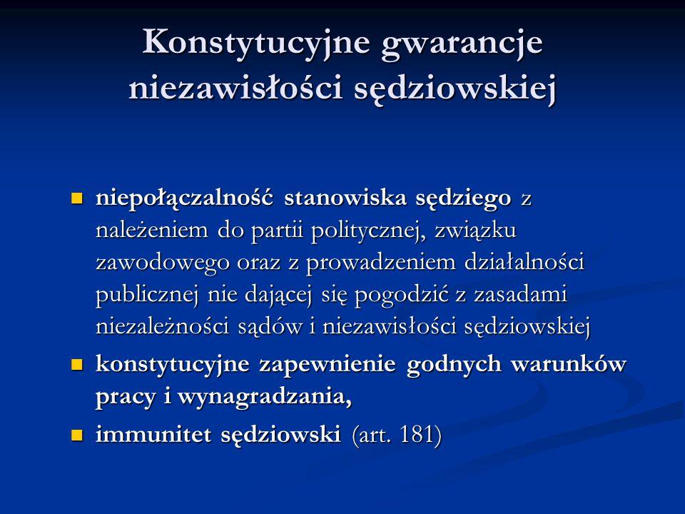 Konstytucyjne gwarancje niezawisłości sędziowskiej niepołączalność stanowiska sędziego z należeniem do partii politycznej, związku zawodowego oraz z p