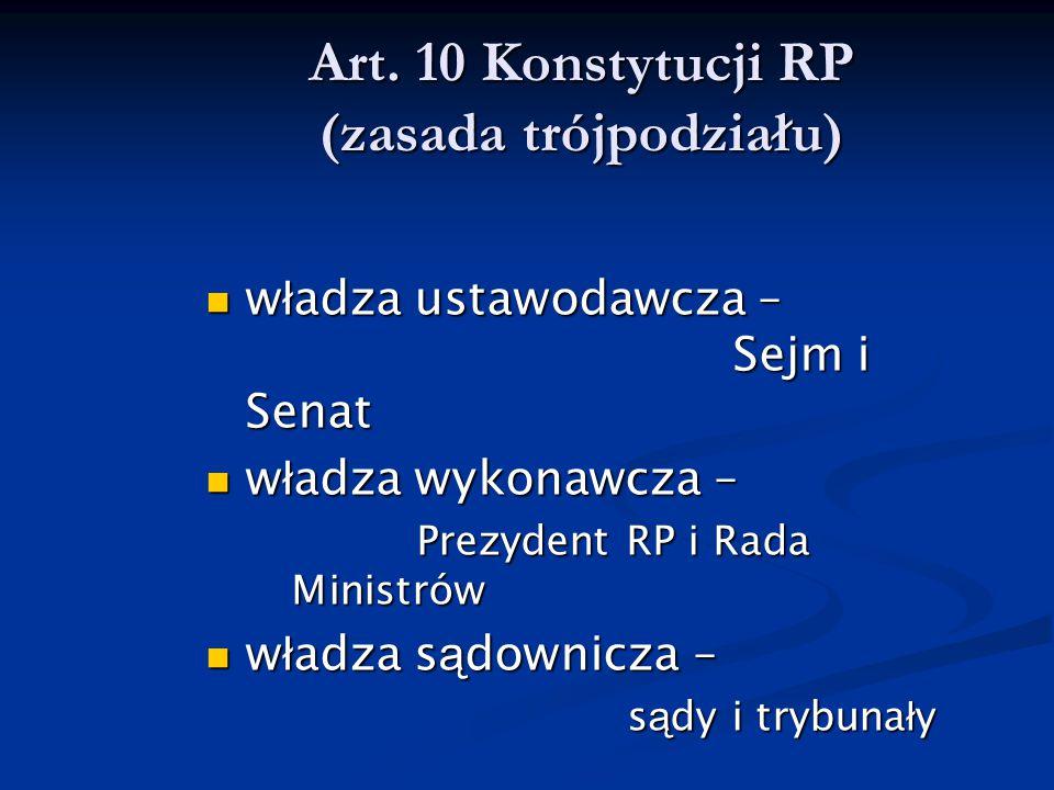 Art. 10 Konstytucji RP (zasada trójpodziału) w ł adza ustawodawcza – Sejm i Senat w ł adza ustawodawcza – Sejm i Senat w ł adza wykonawcza – w ł adza