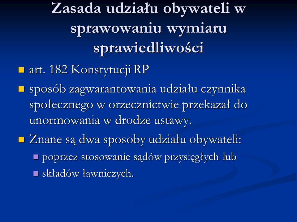 Zasada udziału obywateli w sprawowaniu wymiaru sprawiedliwości art. 182 Konstytucji RP art. 182 Konstytucji RP sposób zagwarantowania udziału czynnika