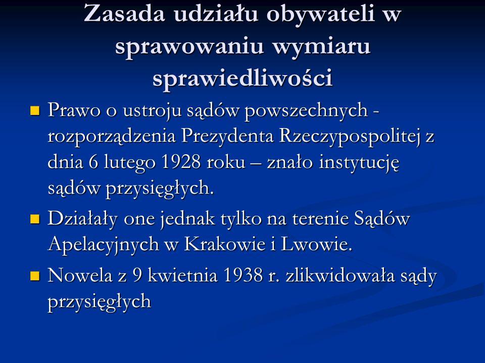 Zasada udziału obywateli w sprawowaniu wymiaru sprawiedliwości Prawo o ustroju sądów powszechnych - rozporządzenia Prezydenta Rzeczypospolitej z dnia
