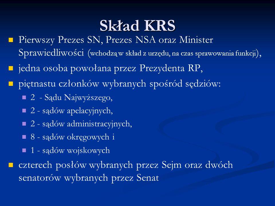 Skład KRS Pierwszy Prezes SN, Prezes NSA oraz Minister Sprawiedliwości ( wchodzą w skład z urzędu, na czas sprawowania funkcji ), jedna osoba powołana