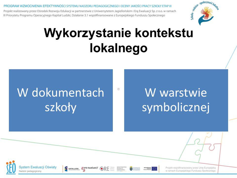 Wykorzystanie kontekstu lokalnego W dokumentach szkoły W warstwie symbolicznej
