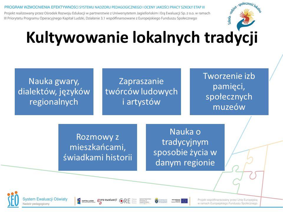 Kultywowanie lokalnych tradycji Nauka gwary, dialektów, języków regionalnych Zapraszanie twórców ludowych i artystów Tworzenie izb pamięci, społecznyc