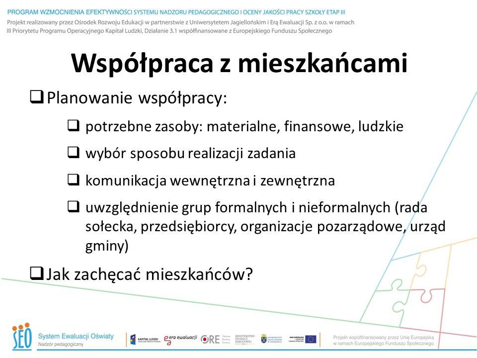 Współpraca z mieszkańcami  Planowanie współpracy:  potrzebne zasoby: materialne, finansowe, ludzkie  wybór sposobu realizacji zadania  komunikacja