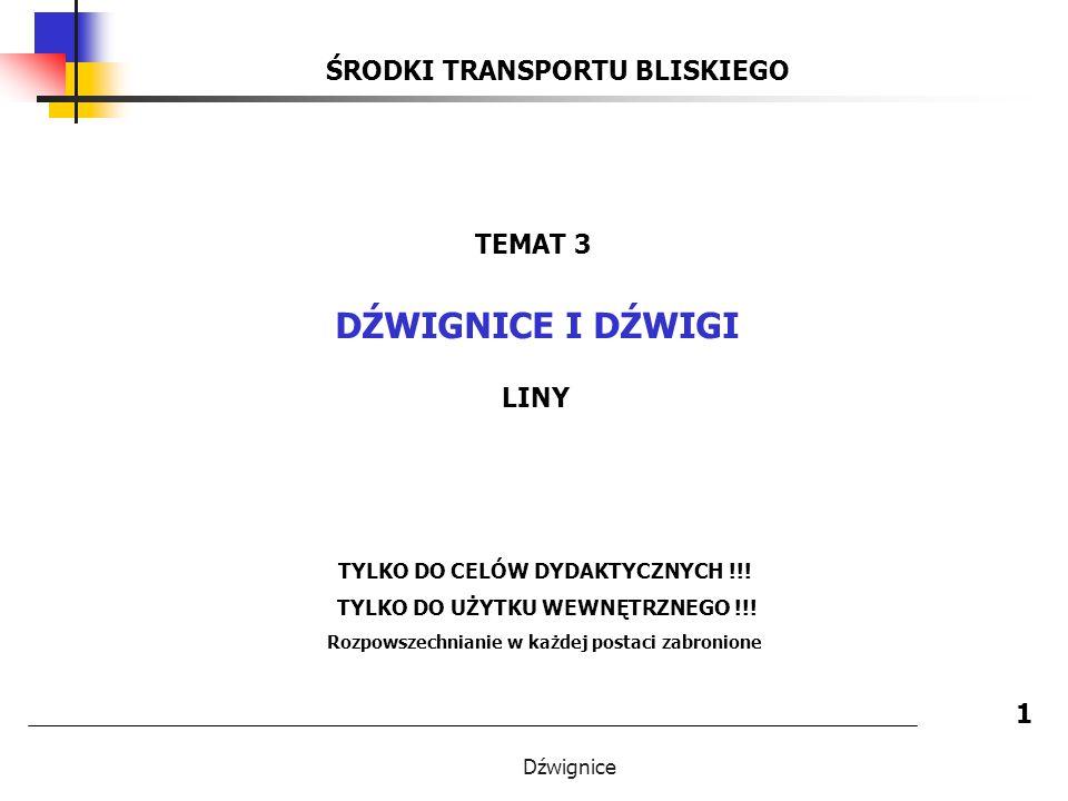 Dźwignice DŹWIGNICE I DŹWIGI - LINY STALOWE 22 POMIAR ŚREDNICY LINY 1.
