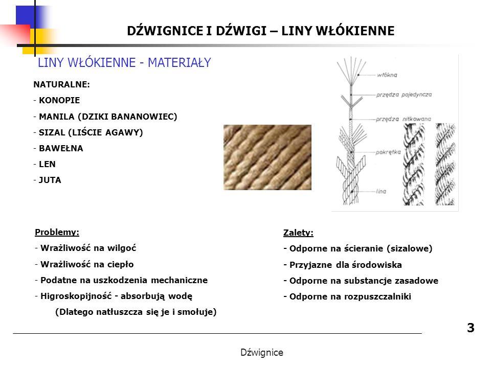Dźwignice DŹWIGNICE I DŹWIGI – LINY WŁÓKIENNE 3 LINY WŁÓKIENNE - MATERIAŁY NATURALNE: - KONOPIE - MANILA (DZIKI BANANOWIEC) - SIZAL (LIŚCIE AGAWY) - BAWEŁNA - LEN - JUTA Zalety: - Odporne na ścieranie (sizalowe) - Przyjazne dla środowiska - Odporne na substancje zasadowe - Odporne na rozpuszczalniki Problemy: - Wrażliwość na wilgoć - Wrażliwość na ciepło - Podatne na uszkodzenia mechaniczne - Higroskopijność - absorbują wodę (Dlatego natłuszcza się je i smołuje)