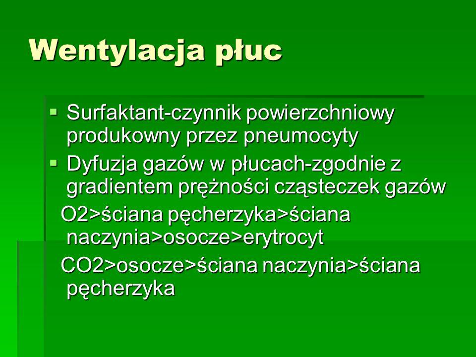 Wentylacja płuc  Surfaktant-czynnik powierzchniowy produkowny przez pneumocyty  Dyfuzja gazów w płucach-zgodnie z gradientem prężności cząsteczek gazów O2>ściana pęcherzyka>ściana naczynia>osocze>erytrocyt O2>ściana pęcherzyka>ściana naczynia>osocze>erytrocyt CO2>osocze>ściana naczynia>ściana pęcherzyka CO2>osocze>ściana naczynia>ściana pęcherzyka