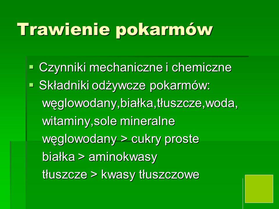 Jama ustna i przełyk  Żucie i nasycanie śliną i formowanie kęsa ślina – wydzielanie –odruch warunkowy ślina – wydzielanie –odruch warunkowy - - - bezwarunkowy - - - bezwarunkowy ślina – 1,5 l/24 godz, pH 7,0 ślina – 1,5 l/24 godz, pH 7,0 3 gruczoły parzyste : ślinianki – podżuchwowe, przyuszne,podjęzykowe 3 gruczoły parzyste : ślinianki – podżuchwowe, przyuszne,podjęzykowe Enzym trawienny – alpha amylaza Enzym trawienny – alpha amylaza Połykanie – 1.faza /dowolna / ustno-gardłowa 2.