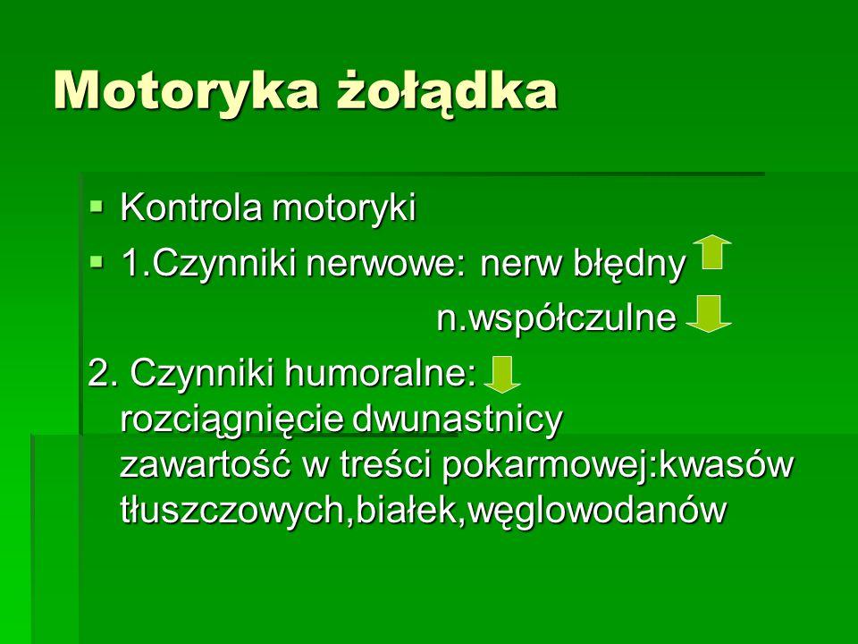 Motoryka żołądka  Kontrola motoryki  1.Czynniki nerwowe: nerw błędny n.współczulne n.współczulne 2.