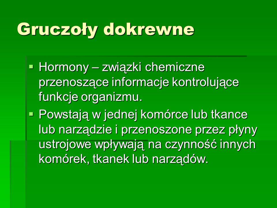 Gruczoły dokrewne  Hormony – związki chemiczne przenoszące informacje kontrolujące funkcje organizmu.