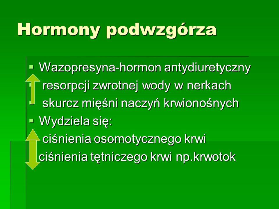 Hormony podwzgórza  Wazopresyna-hormon antydiuretyczny  resorpcji zwrotnej wody w nerkach  skurcz mięśni naczyń krwionośnych  Wydziela się:  ciśnienia osomotycznego krwi ciśnienia tętniczego krwi np.krwotok ciśnienia tętniczego krwi np.krwotok
