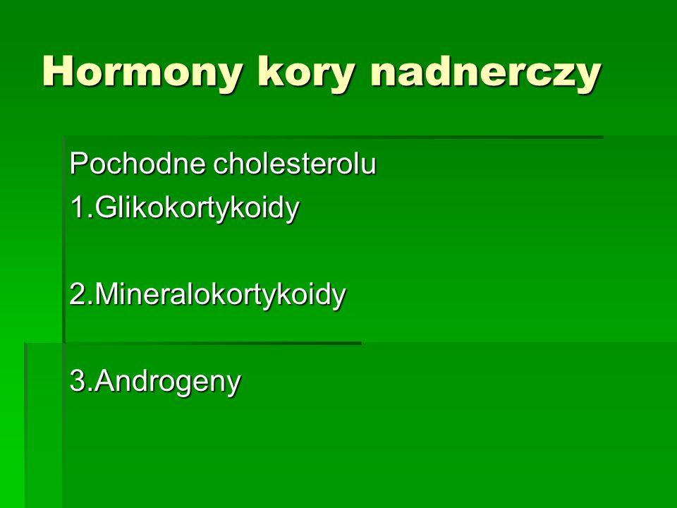 Hormony kory nadnerczy Pochodne cholesterolu 1.Glikokortykoidy2.Mineralokortykoidy3.Androgeny