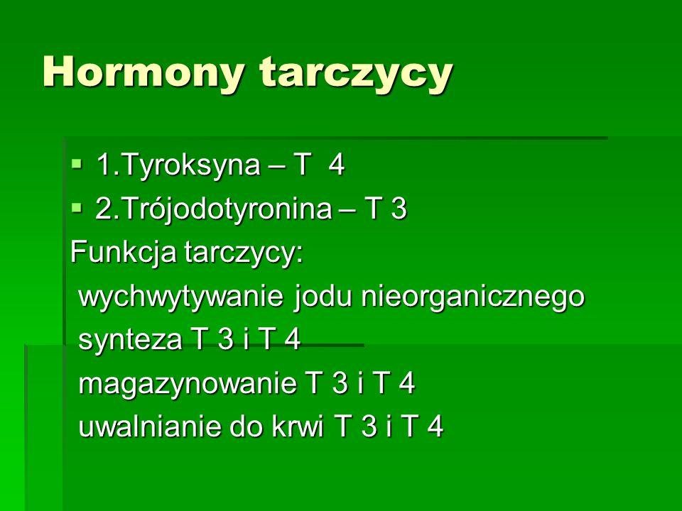 Hormony tarczycy  1.Tyroksyna – T 4  2.Trójodotyronina – T 3 Funkcja tarczycy: wychwytywanie jodu nieorganicznego wychwytywanie jodu nieorganicznego synteza T 3 i T 4 synteza T 3 i T 4 magazynowanie T 3 i T 4 magazynowanie T 3 i T 4 uwalnianie do krwi T 3 i T 4 uwalnianie do krwi T 3 i T 4