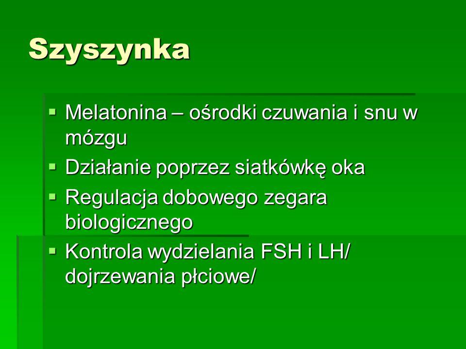 Szyszynka  Melatonina – ośrodki czuwania i snu w mózgu  Działanie poprzez siatkówkę oka  Regulacja dobowego zegara biologicznego  Kontrola wydzielania FSH i LH/ dojrzewania płciowe/