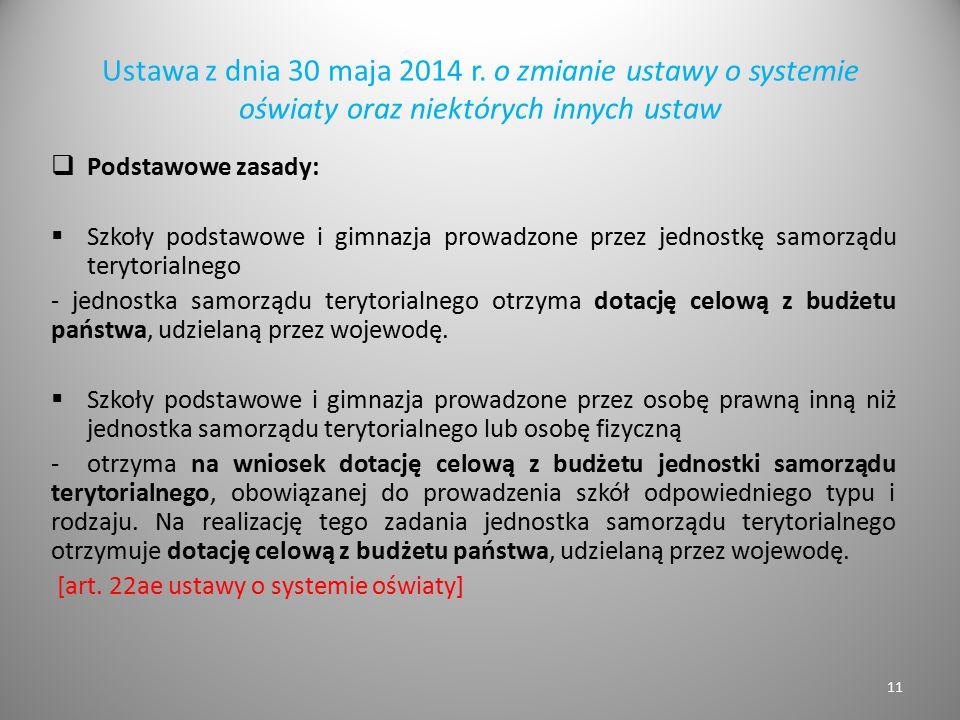 Ustawa z dnia 30 maja 2014 r. o zmianie ustawy o systemie oświaty oraz niektórych innych ustaw  Podstawowe zasady:  Szkoły podstawowe i gimnazja pro