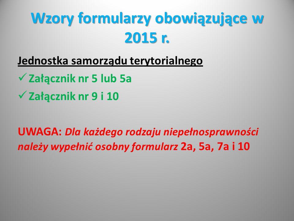 Wzory formularzy obowiązujące w 2015 r. Jednostka samorządu terytorialnego Załącznik nr 5 lub 5a Załącznik nr 9 i 10 UWAGA: Dla każdego rodzaju niepeł