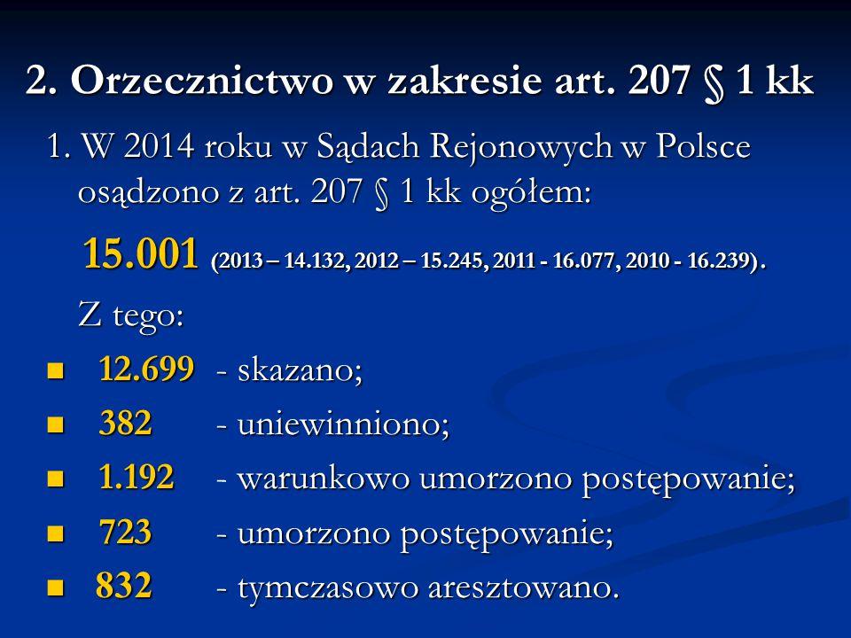 2. Orzecznictwo w zakresie art. 207 § 1 kk 1. W 2014 roku w Sądach Rejonowych w Polsce osądzono z art. 207 § 1 kk ogółem: 15.001 (2013 – 14.132, 2012