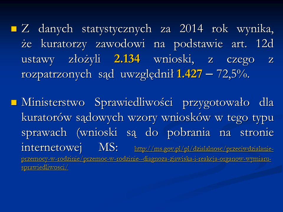 Z danych statystycznych za 2014 rok wynika, że kuratorzy zawodowi na podstawie art. 12d ustawy złożyli 2.134 wnioski, z czego z rozpatrzonych sąd uwzg