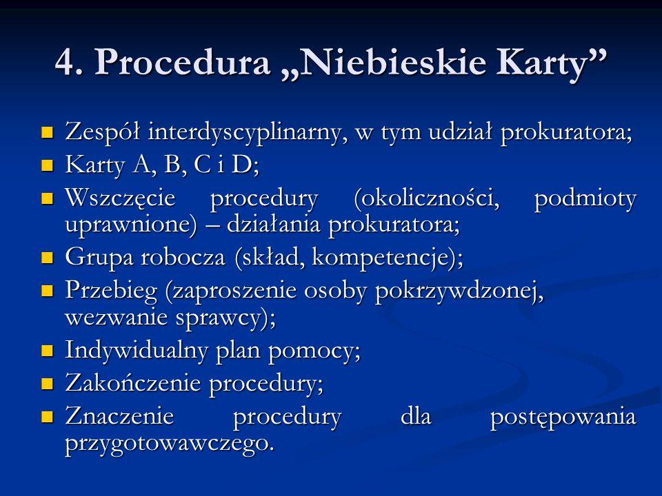 """4. Procedura """"Niebieskie Karty"""" Zespół interdyscyplinarny, w tym udział prokuratora; Zespół interdyscyplinarny, w tym udział prokuratora; Karty A, B,"""