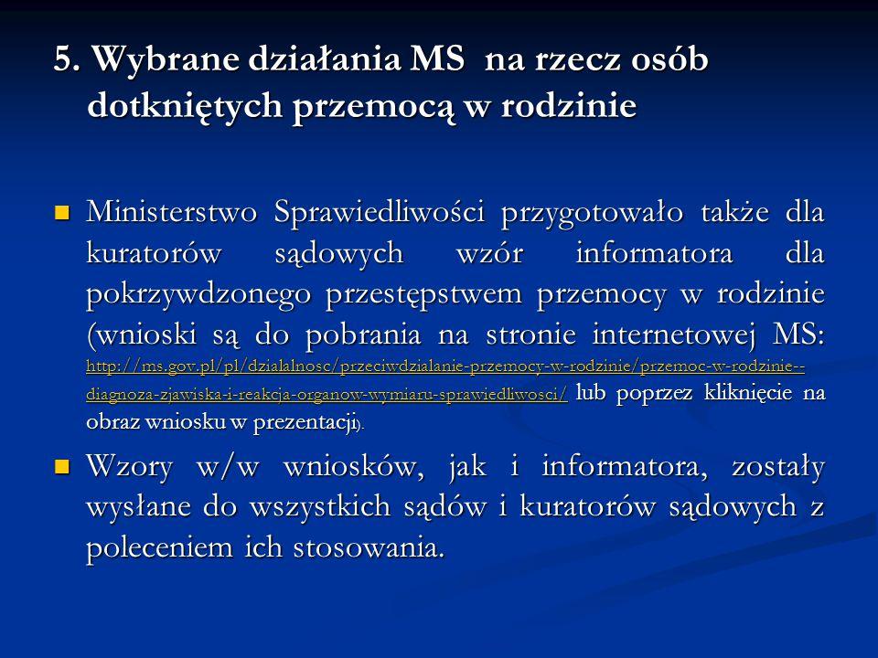 5. Wybrane działania MS na rzecz osób dotkniętych przemocą w rodzinie Ministerstwo Sprawiedliwości przygotowało także dla kuratorów sądowych wzór info