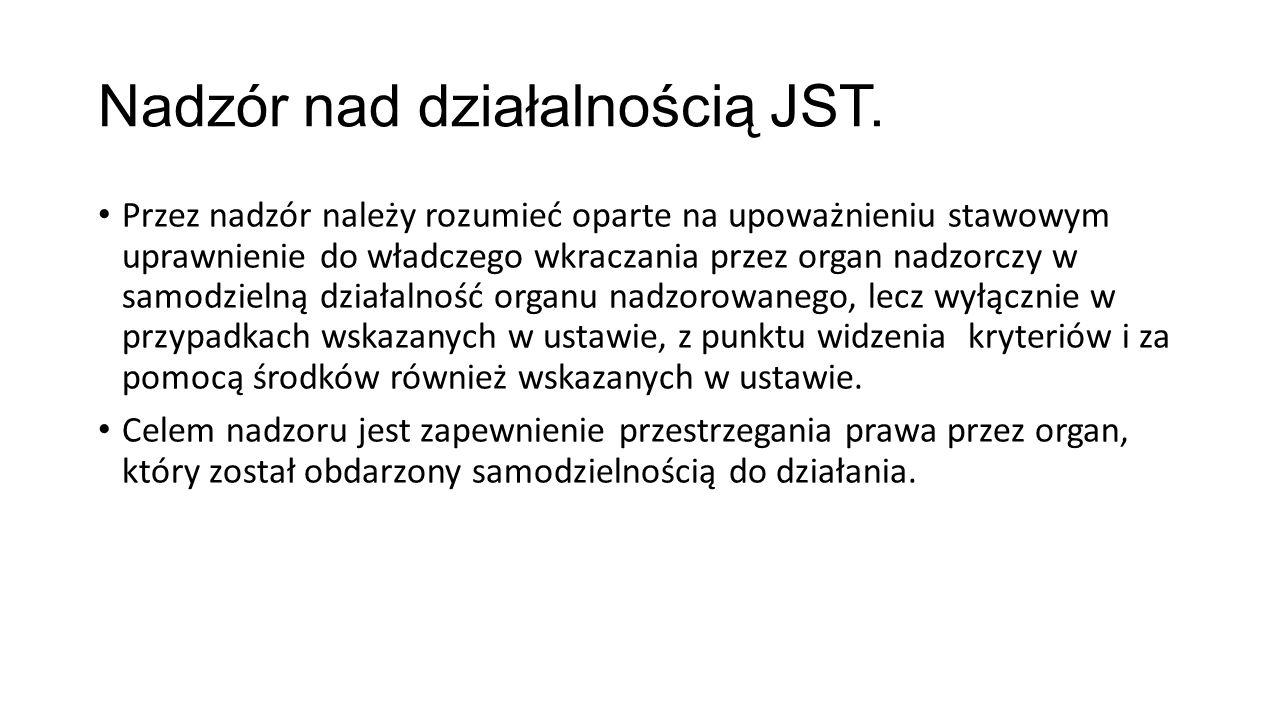 Nadzór nad działalnością JST.