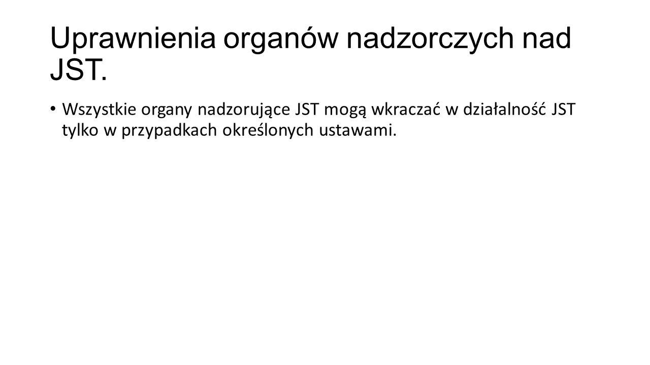 Uprawnienia organów nadzorczych nad JST.