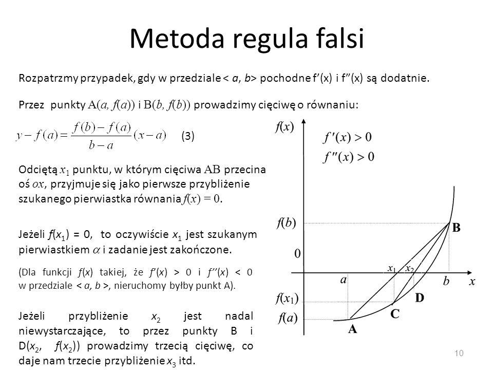 """Metoda regula falsi 10 Rozpatrzmy przypadek, gdy w przedziale pochodne f'(x) i f""""(x) są dodatnie. Odciętą x 1 punktu, w którym cięciwa AB przecina oś"""