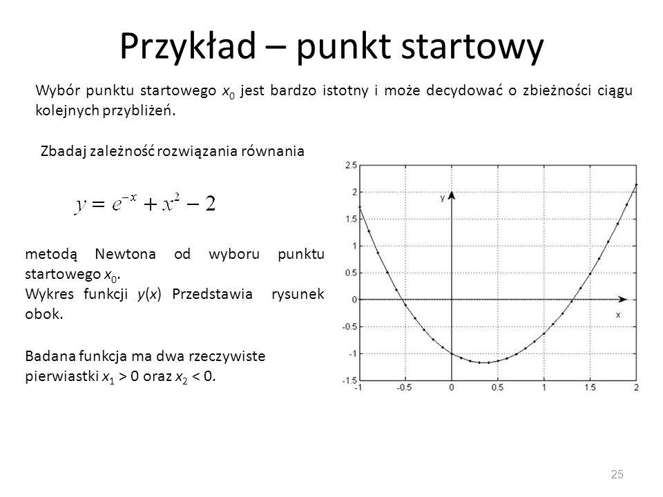 Przykład – punkt startowy 25 Wybór punktu startowego x 0 jest bardzo istotny i może decydować o zbieżności ciągu kolejnych przybliżeń. Zbadaj zależnoś