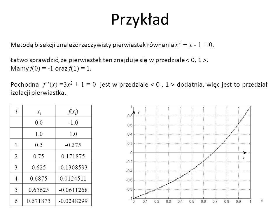 Przykład 8 Metodą bisekcji znaleźć rzeczywisty pierwiastek równania x 3 + x ‑ 1 = 0. Łatwo sprawdzić, że pierwiastek ten znajduje się w przedziale. Ma