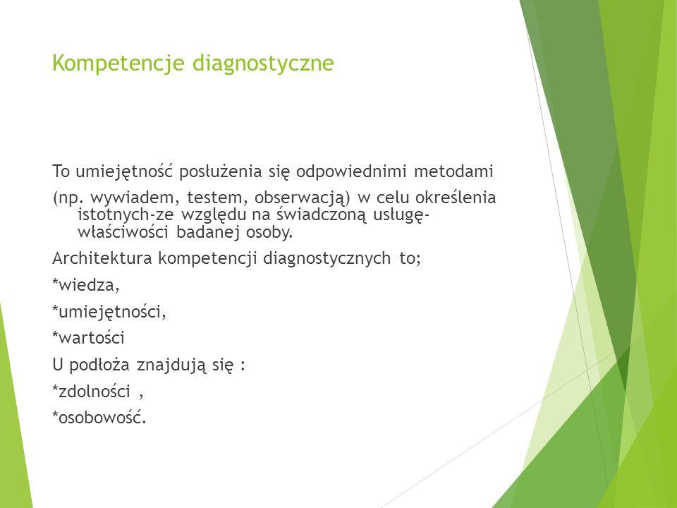 Kompetencje diagnostyczne To umiejętność posłużenia się odpowiednimi metodami (np.